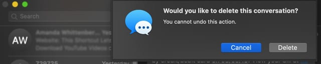 delete a Message App Conversation on Mac with macOS