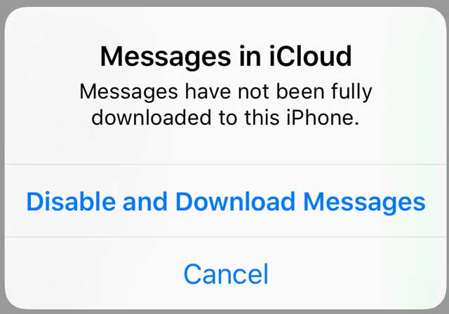 toggle off prompt for Messages in iCloud