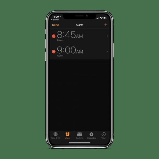 Edit alarm in clock