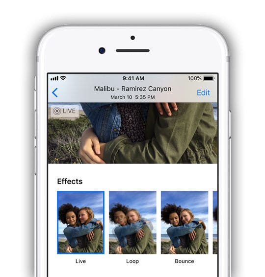 motion effect options for Live Photos on iPhone in Photos App
