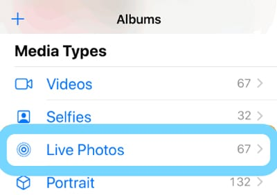 live photo album in photos app iPhone