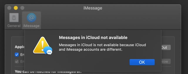 messages in iCloud Not Available