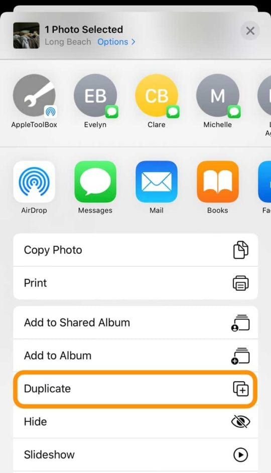 duplicate photo option in Photos app share sheet