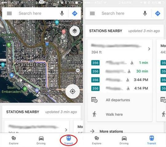 Google Maps Explore Bar Transit Info
