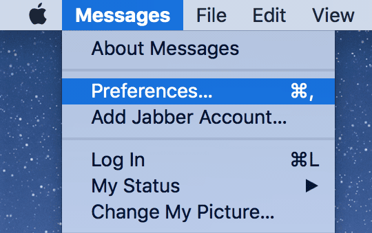 Open preferences in Messages app