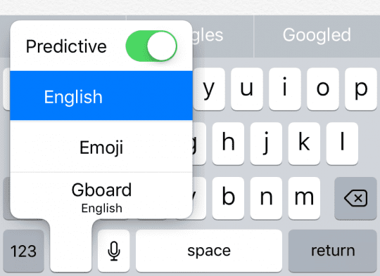 Quick access to Gboard in iPhone