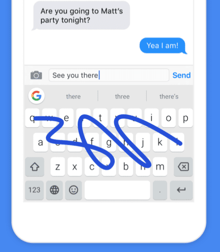 Glide typing in Gboard for iPhone