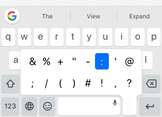 Punctuation shortcut in Gboard for iPhone