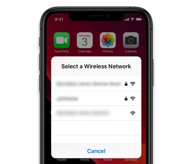 stuck on select a wireless network for iPhone, iPad, or iPod