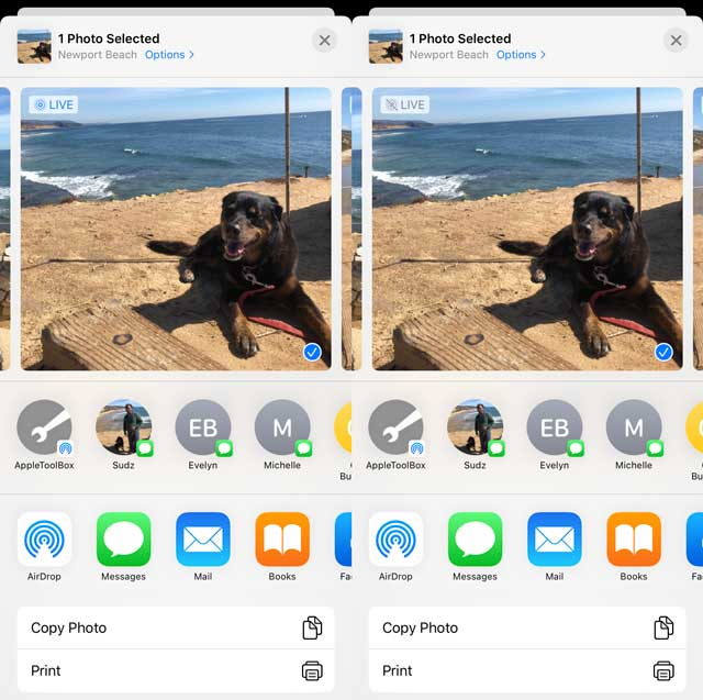 turn live photo off or on when sharing Live Photos from the Photos app