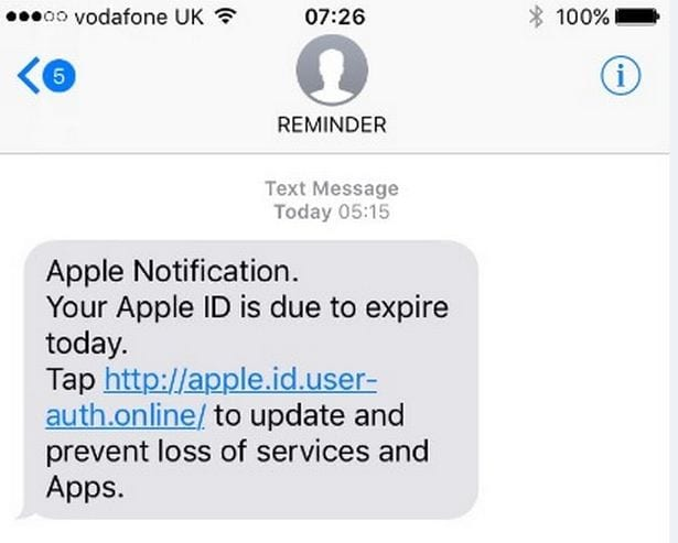 Apple-Related Scams - Text Messages