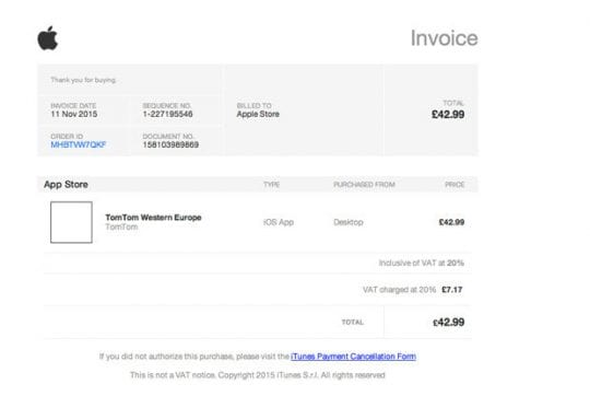 Apple-Related Scams - Fake Email Invoice