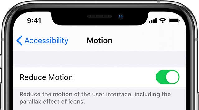 iOS 13 reduce motion settings