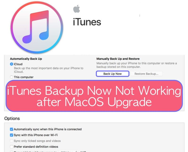 iTunes Backup Now Not Working after MacOS Upgrade, Tips to Consider