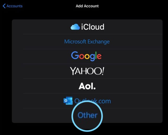 add other type of account in Passwords and Accounts in iOS