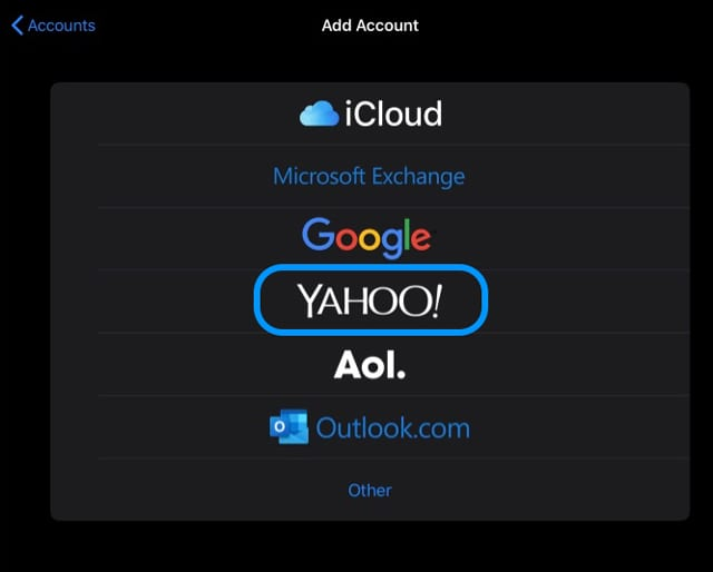 yahoo option to add an account in Passwords & Accounts iPad with dark mode iOS 13