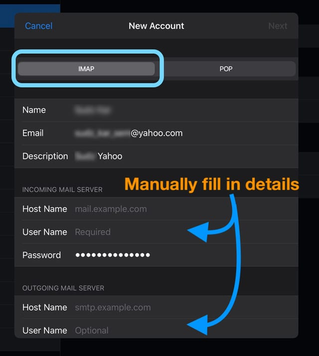 manually add in server information for email account on iOS