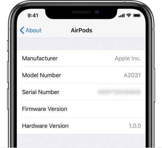 AirPods serial number in settings on iPhone