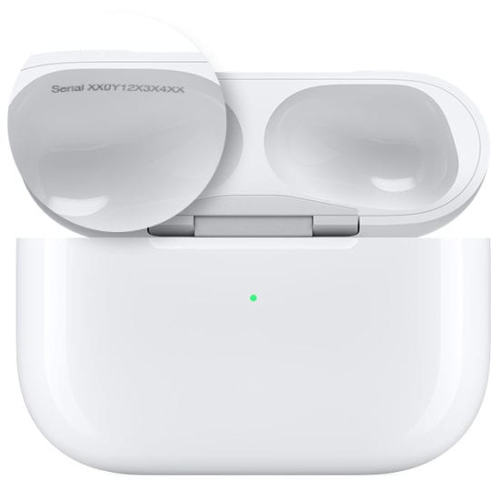 serial number in AirPods case for AirPods Pro
