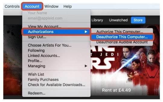 Deauthorize iTunes screenshot