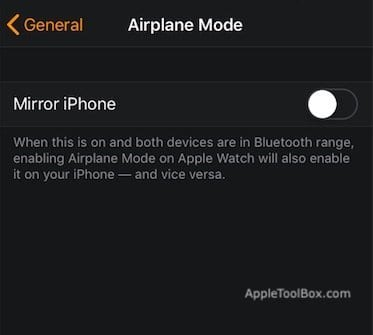 Turn Off mirroring on Apple Watch