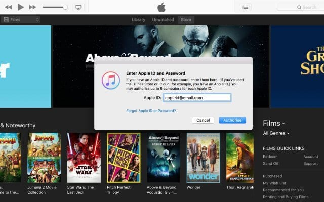 iTunes authorizations window