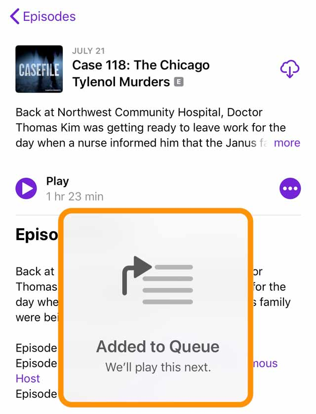 added to queue in Podcast app