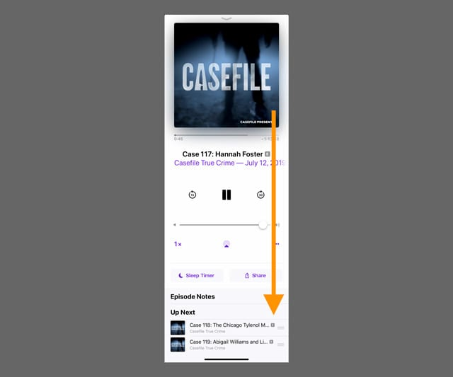 show Up Next queue in Podcast app iPhone