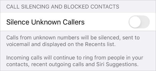 Silence Unknown Callers iPhone Phone settings