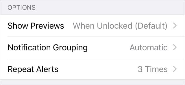 iPhone Messages Notifications settings showing Repeat Alerts option