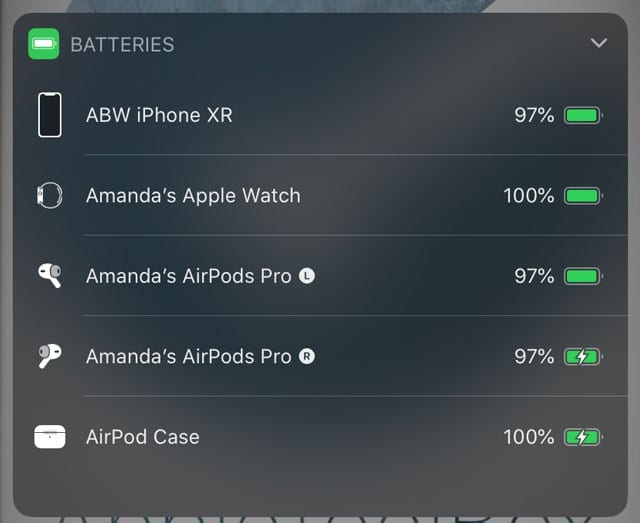 show Left's, Right's, and the Airpods Case's current battery status