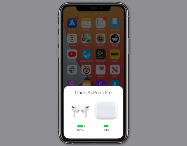 AirPods pop-up with battery level on iPhone