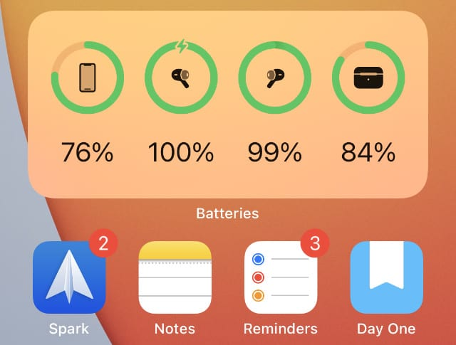 Batteries widget on iPhone Home screen showing AirPods battery