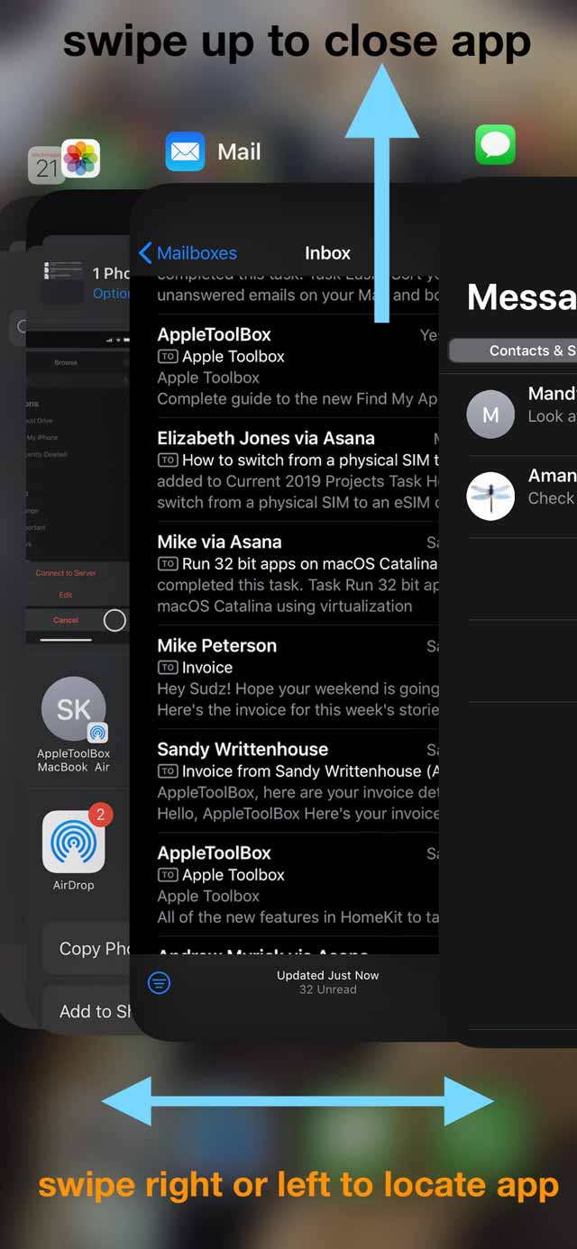 close the mail app on an iPhone