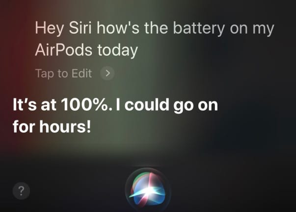 check battery level with Hey Siri on AirPods 2