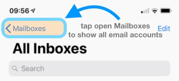 mail app mailboxes iOS