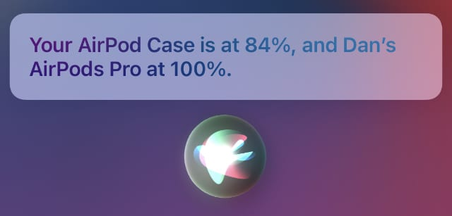 Siri checking AirPods battery level