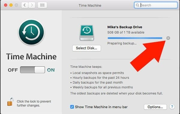 Time Machine - Stop Backup