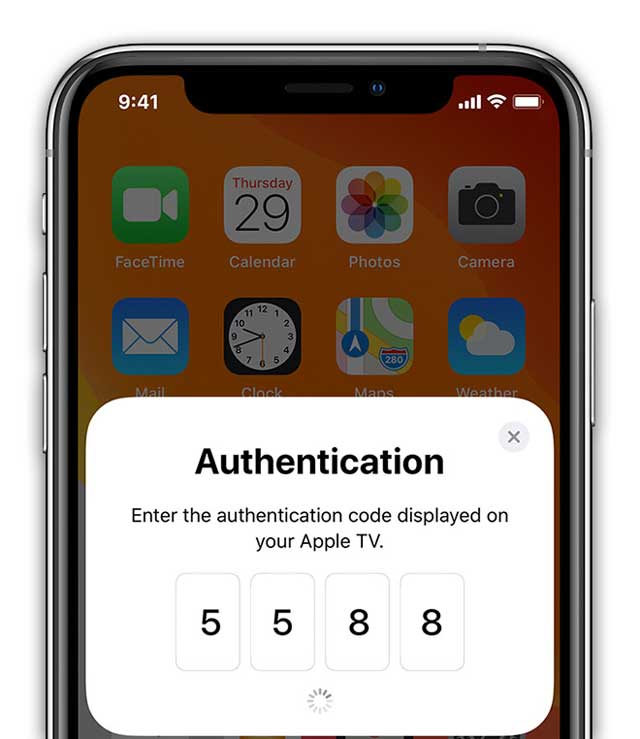 authentication code on Apple TV