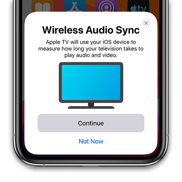 wireless audio sync notification on Apple TV