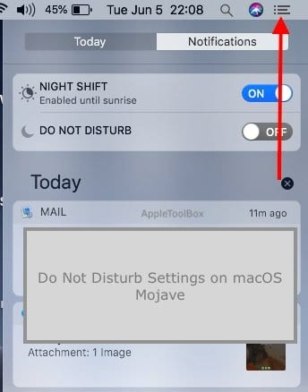 Do Not Disturb Mode on macOS Mojave
