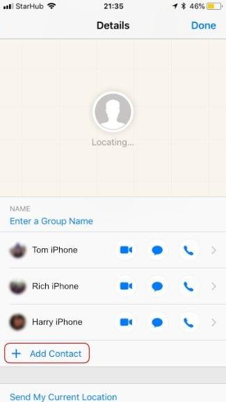 Screenshot of the Add Contact button