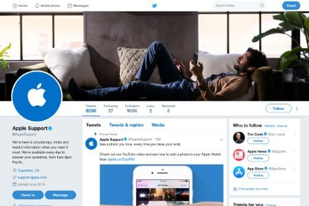 Screenshot of the Apple Support Twitter page