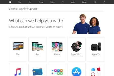 Screenshot of the Apple Support website welcome page