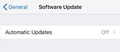 Disable Automatic Updates on iPhone for iOS 12