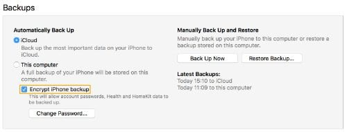 Screenshot of the Encrypt [your device] Backup option in iTunes