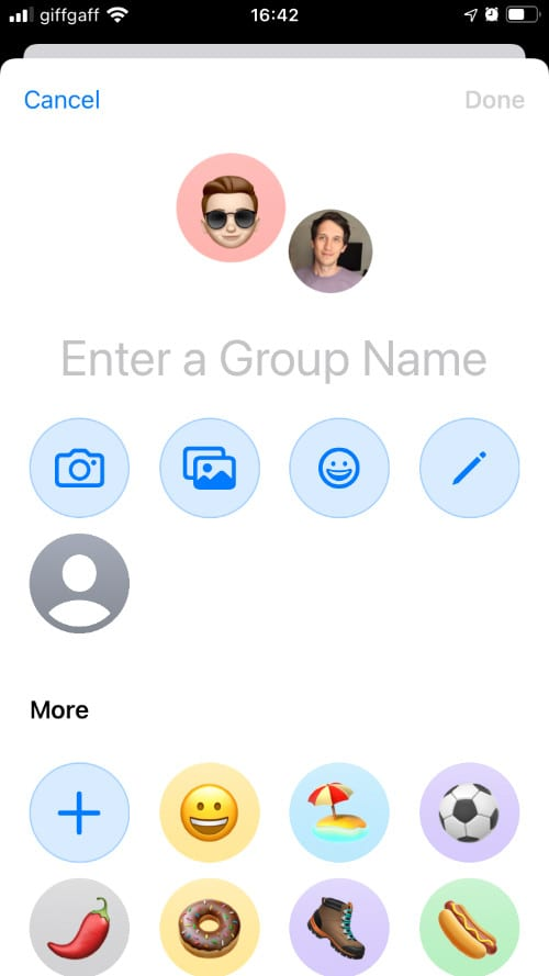 Enter a Group Name page for group message