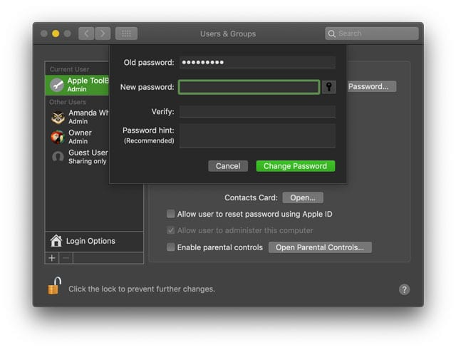 Mac blank password for login macOS