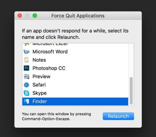 Force Quit Finder macOS