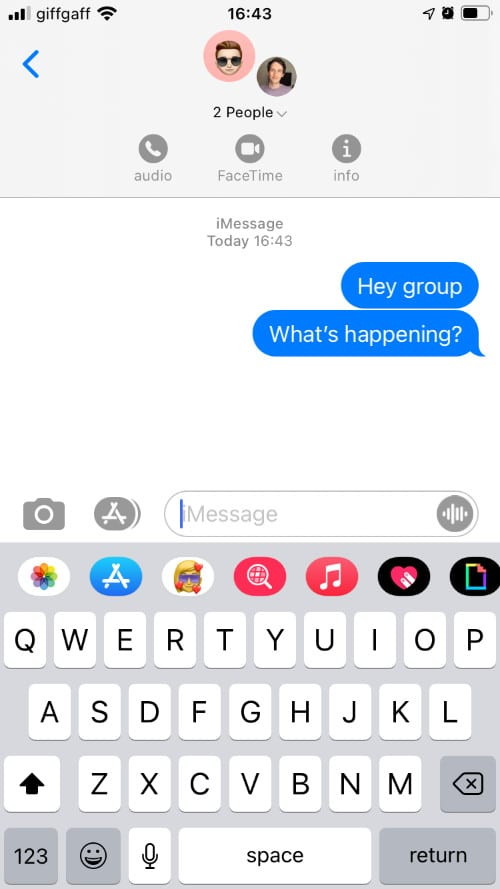 Group Message showing Info button